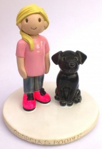 Girl And Dog Cake Topper
