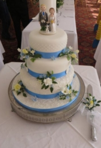 Blue and Yellow Wedding Theme Cake Topper